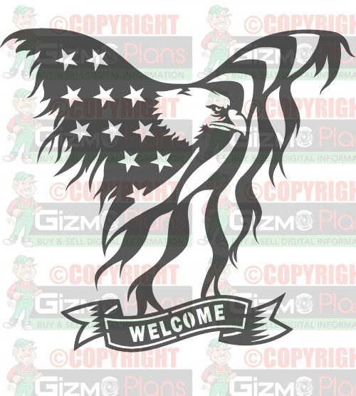 Flying Eagle American Flag Welcome DXF Files