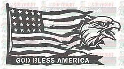 Eagle God Bless America DXF Plasma File Art