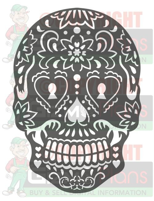 2 Pk Sugar Skull DXF CNC Cutting Files