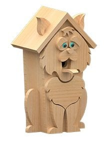 right view of cat birdhouse plans