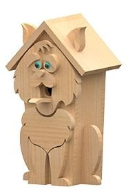 left view of cat birdhouse plans
