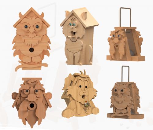character birdhouse & birdfeeder bundle