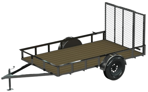 cad drawing of a utility trailer with a wood floor