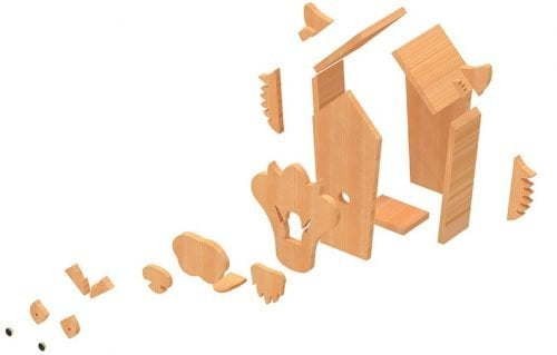 decomposed view of wolf birdhouse plans